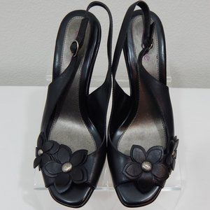 Connie Heels Sz 9M Leather Black Open Toes